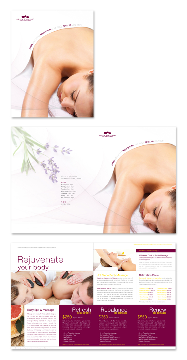 Health Spa Massage Resort Brochure Template - Massage therapy brochure templates