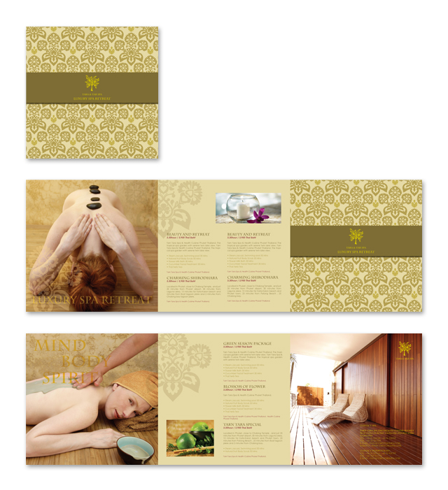 Natural Day Spa Massage Brochure Template - Spa brochure templates