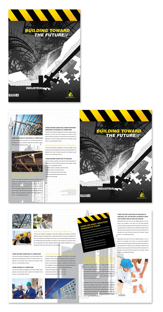 industrial  u0026 commercial construction brochure template