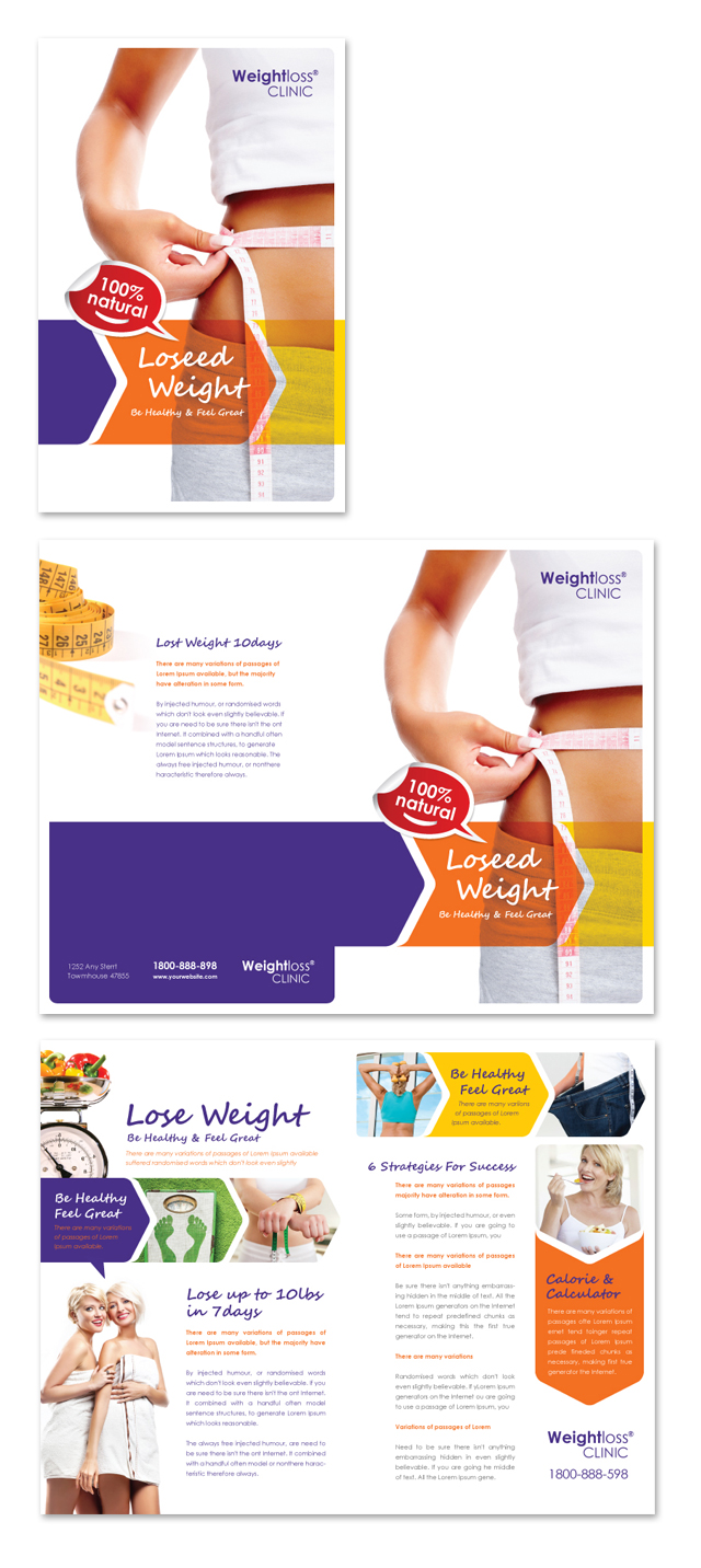 Weight loss clinic brochure template for Clinic brochure template