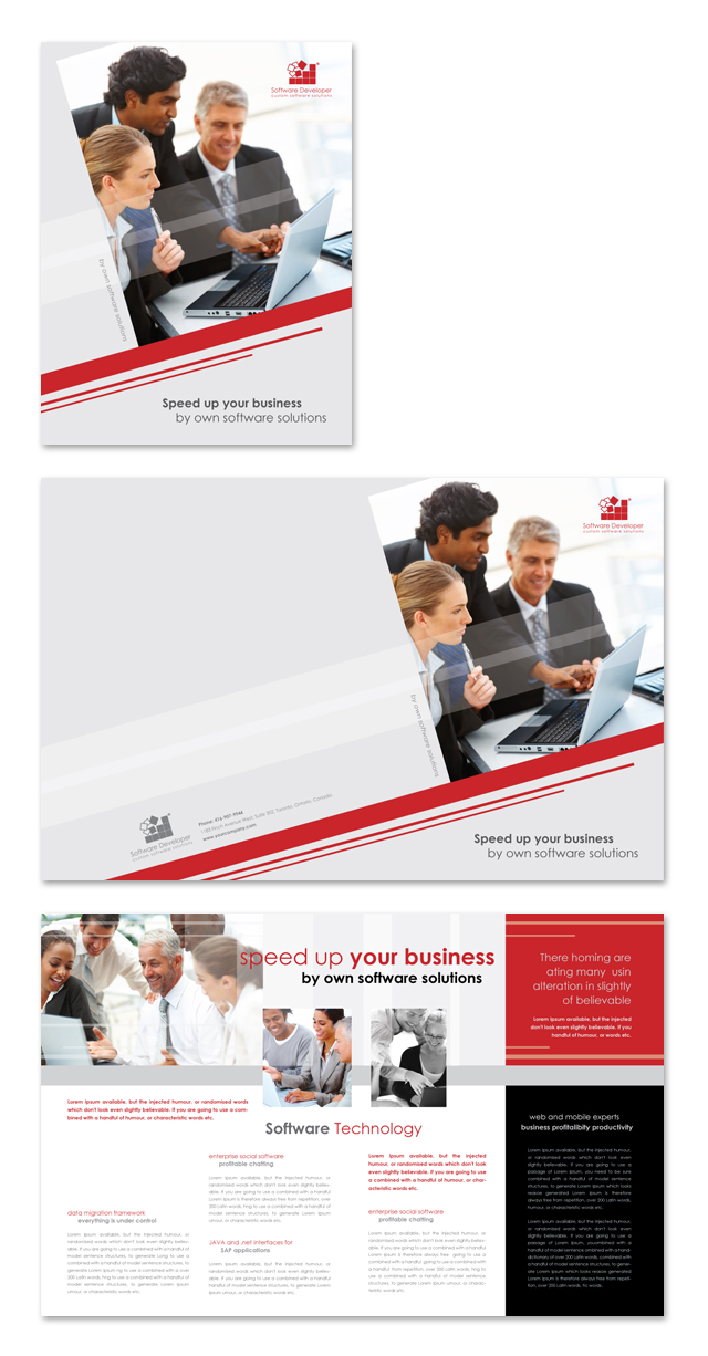 software product brochure template - software solutions brochure template
