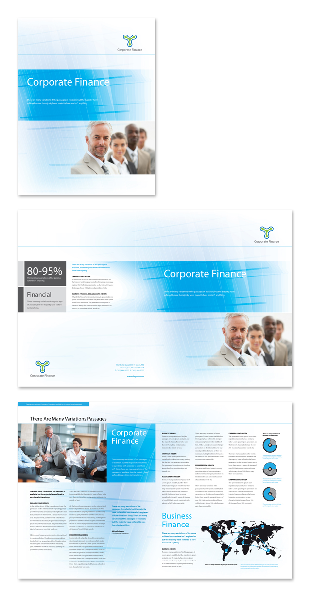 Corporate finance brochure template for Financial brochure templates