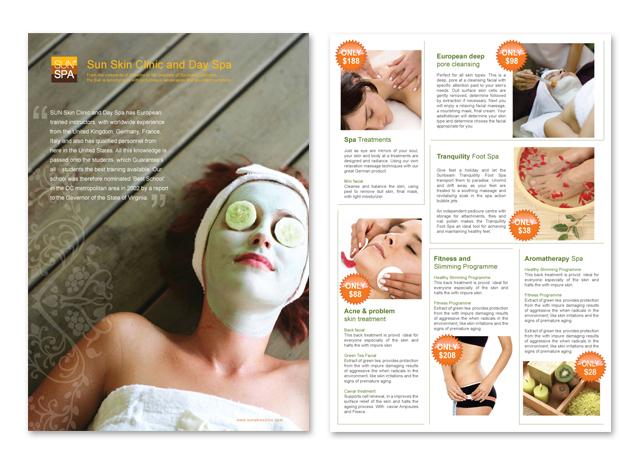 Skin Care & Spa Center Datasheet Template