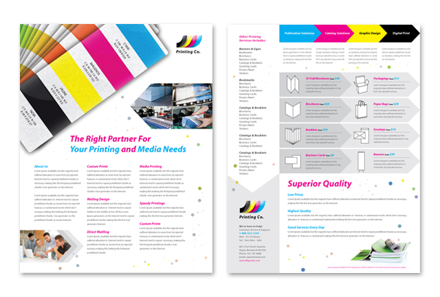 Printing company datasheet template for Top product design companies