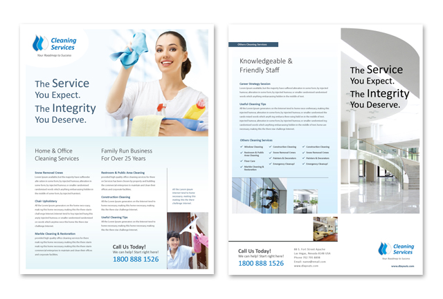cleaning janitorial services datasheet template