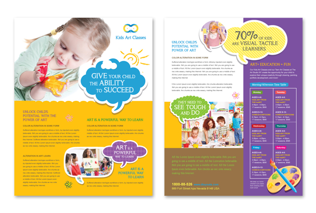 Kids art classes datasheet template for Free brochure templates for kids