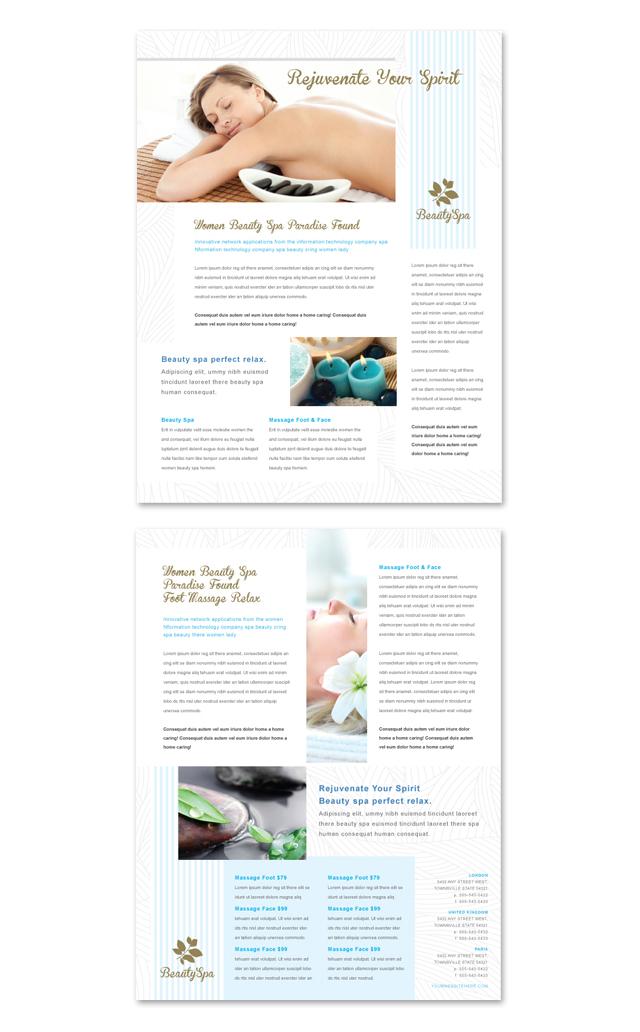 Beauty Spa Salon Datasheet Template