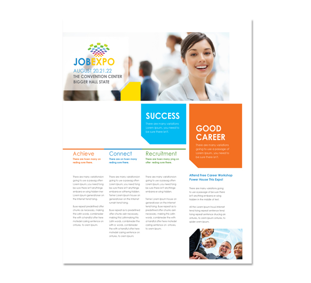 Career fair flyer template for Career brochure template