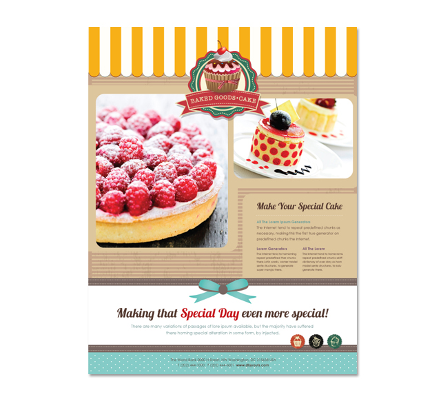Cakery Flyer Template - Bakery brochure template free