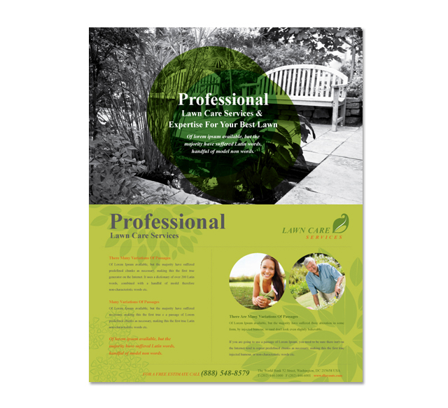 Lawn care services flyer template for Garden maintenance flyer template