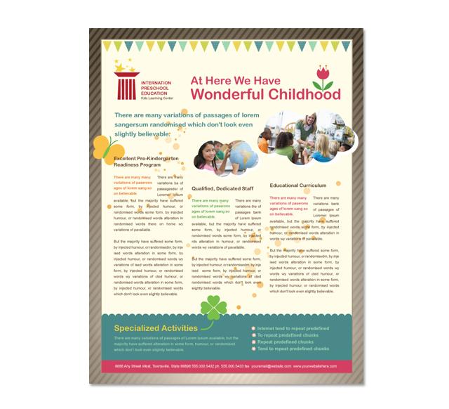 Pre Brochure Template | Preschool Education Flyer Template
