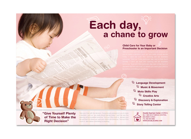 Baby child day care flyer template for Child care brochure template free