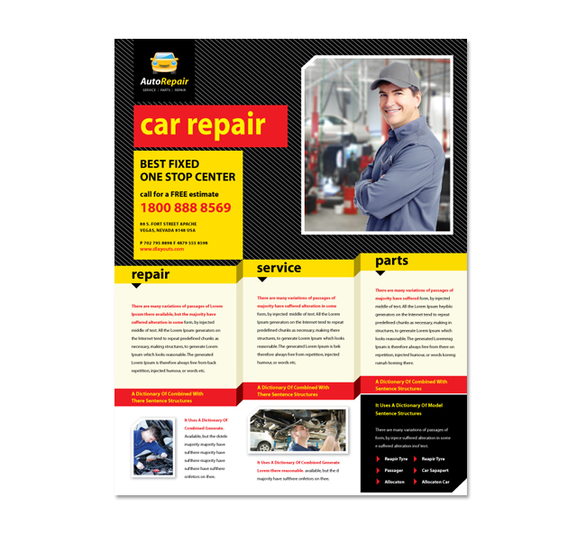 Auto repair services flyer template for Car brochure template
