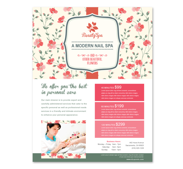 nail salon sign in sheet template - nail spa center flyer template
