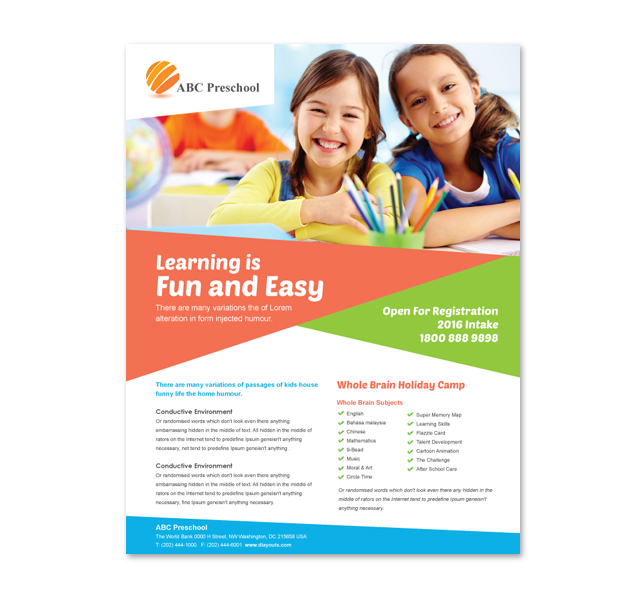 Preschool education flyer template for Daycare brochure template