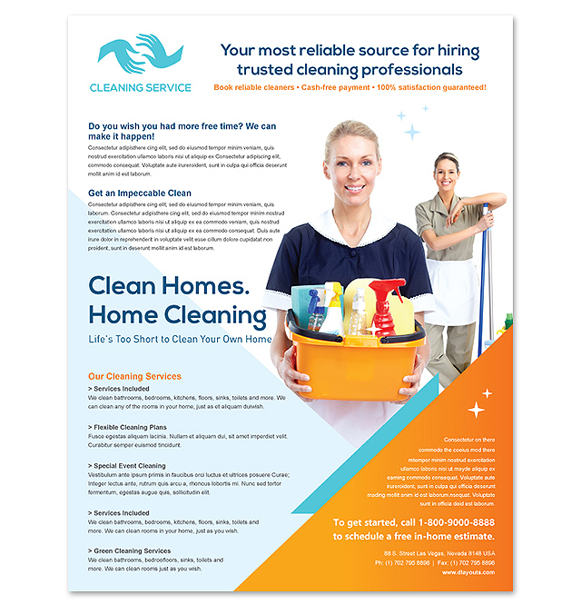 Cleaning Janitorial Services Flyer Template Design