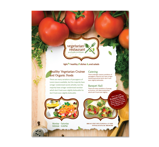 Vegetarian Restaurant Flyer Template – Restaurant Flyers Templates