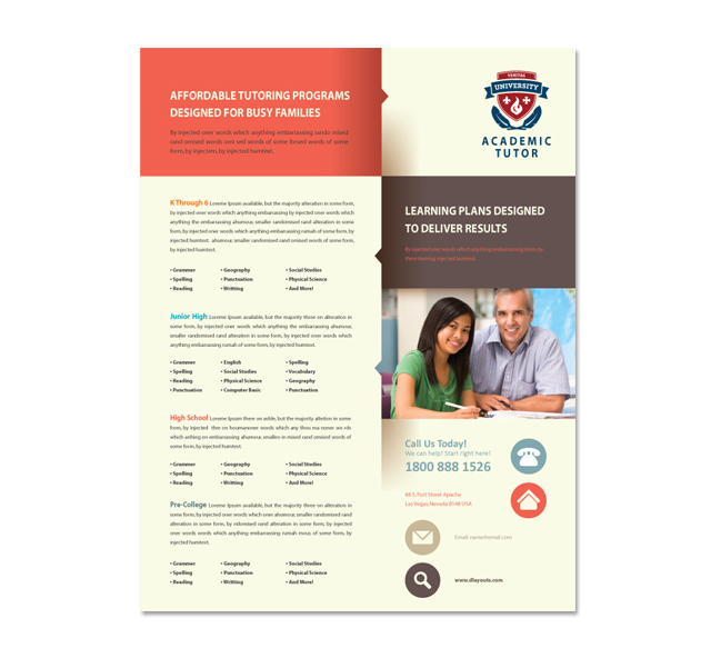 academic tutor flyer template