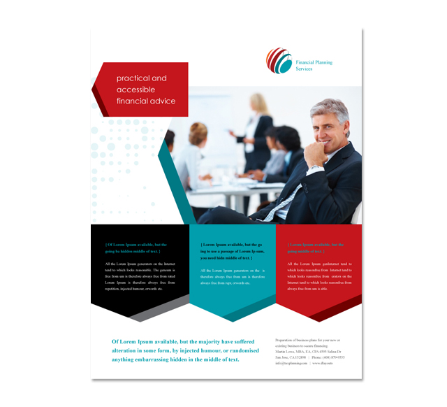financial brochure templates - financial planning flyer template