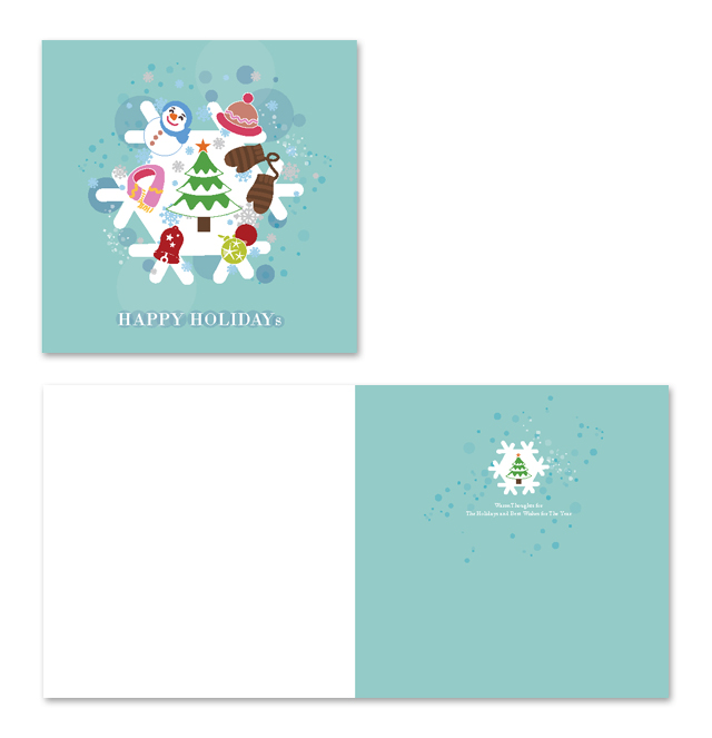 Christmas Flakes Greeting Card Template