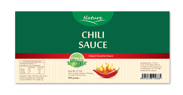 Chili Sauce Label Template – Product Label Template