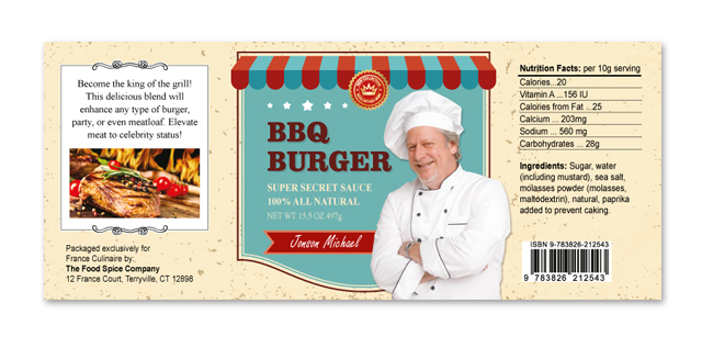 Barbecue burger sauce label template for Bbq sauce label template