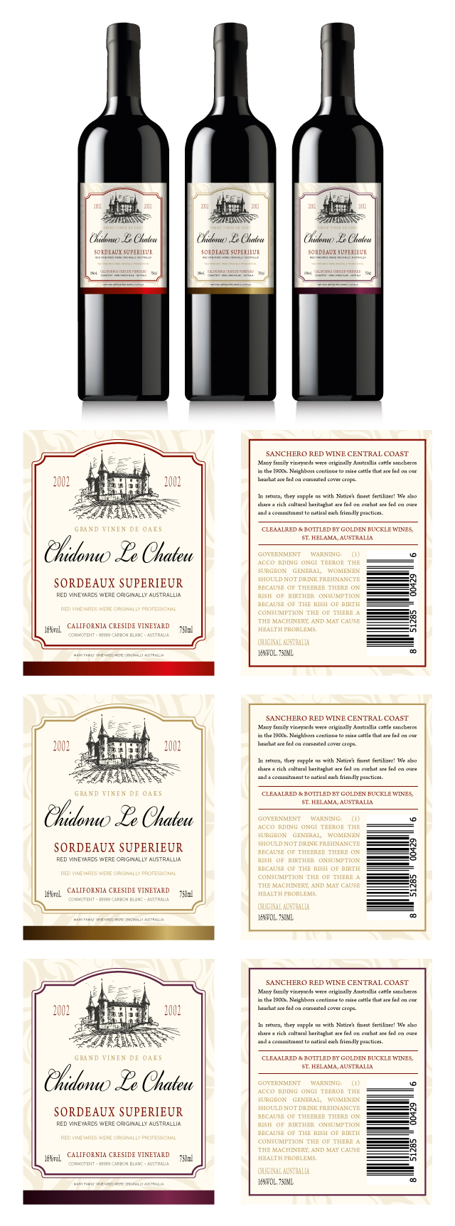 Classic Red Wine Labels Template