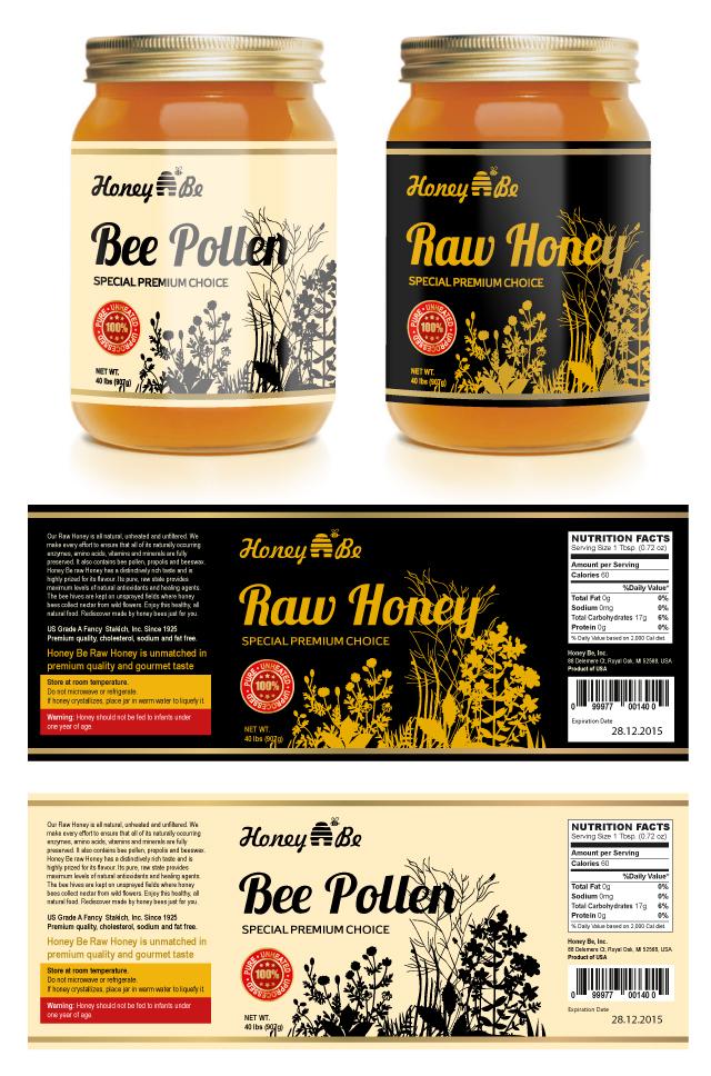 raw honey  u0026 bee pollen labels template