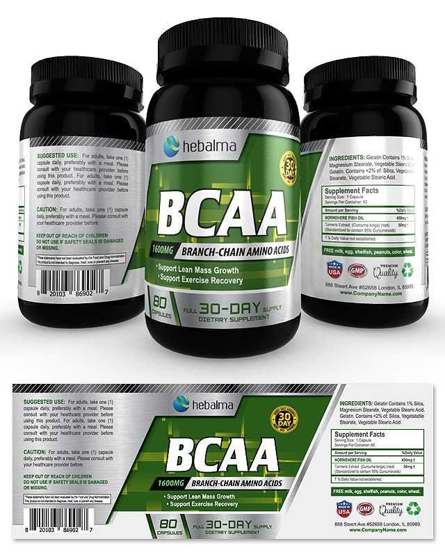 BCAA Amino Acids Supplement Label Template