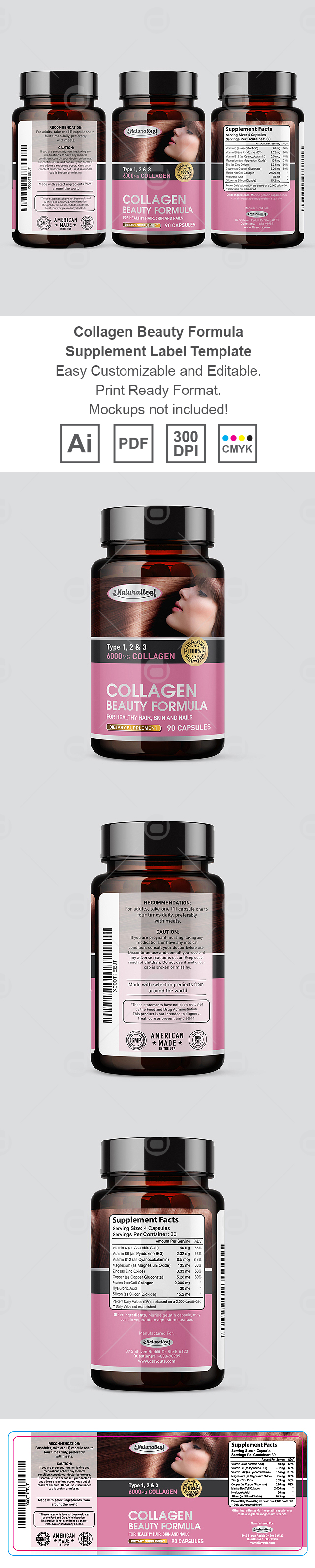 Collagen Beauty Formula Supplement Label Template