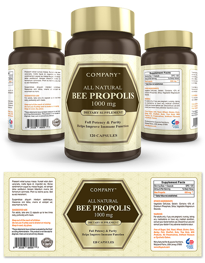 Bee Propolis Supplement Label Template – Product Label Template