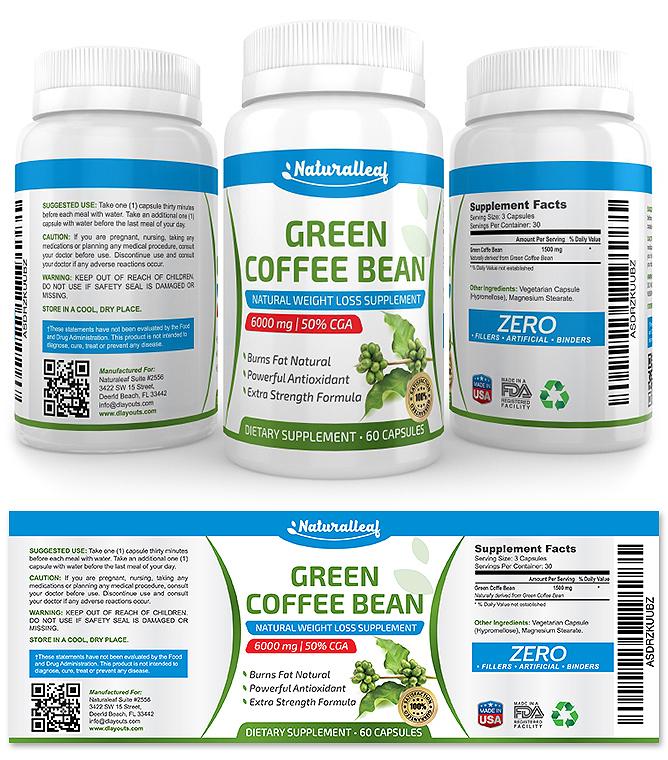 Green coffee bean label