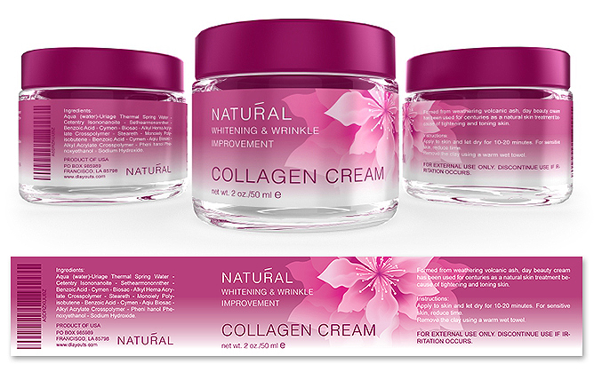 Collagen Facial Cream Label Template