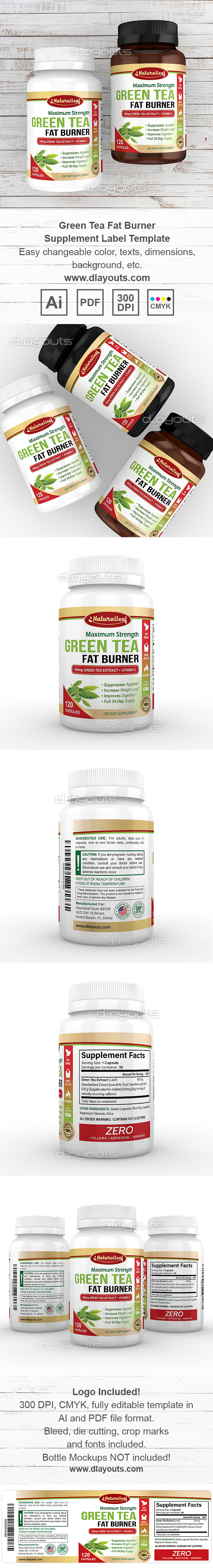 Green Tea Fat Burner Supplement Label Template