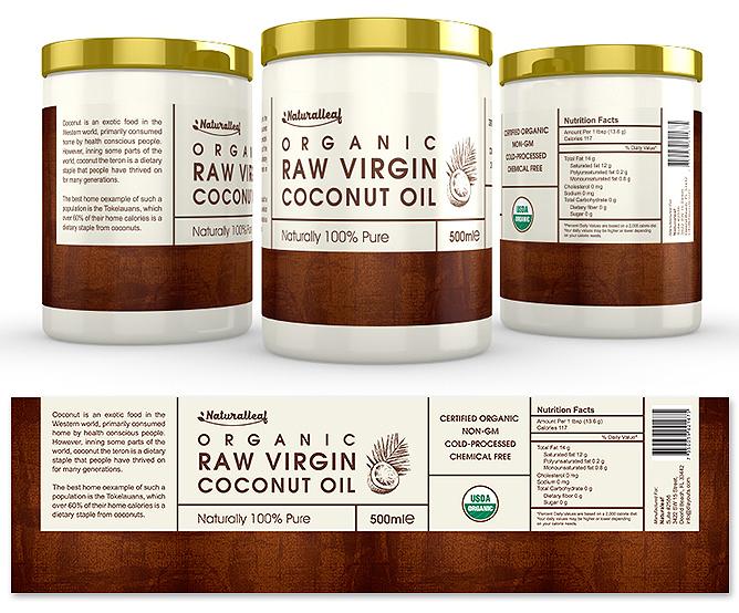 Organic Raw Virgin Coconut Oil Label Template