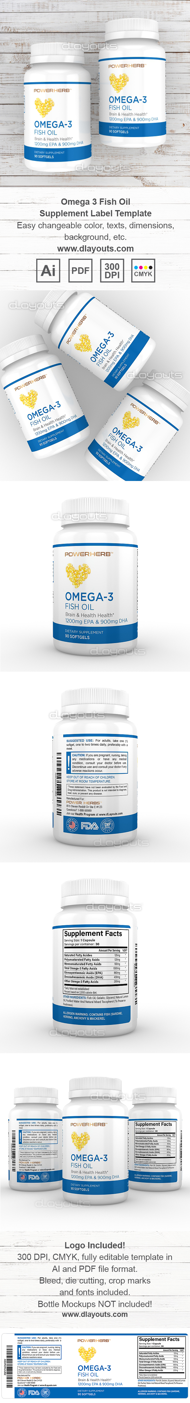 Omega-3 Fish Oil Supplement Label Template