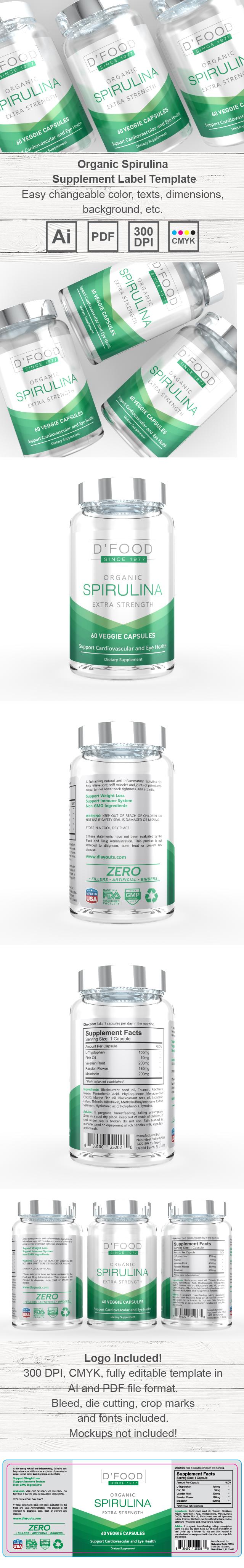 Spirulina Supplement Label Template