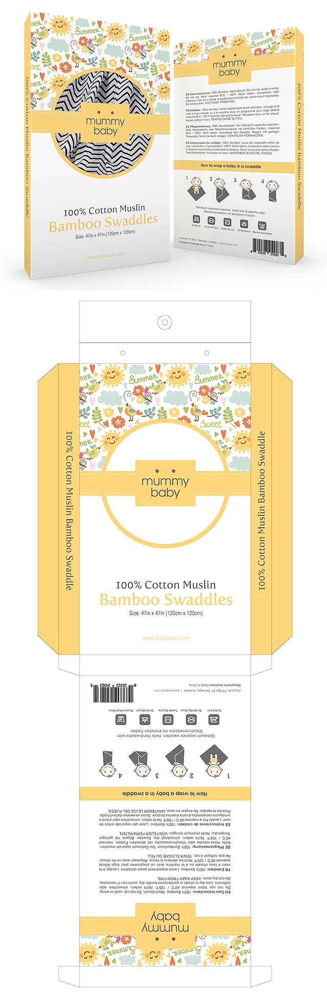Baby Muslin Swaddle Packaging Template