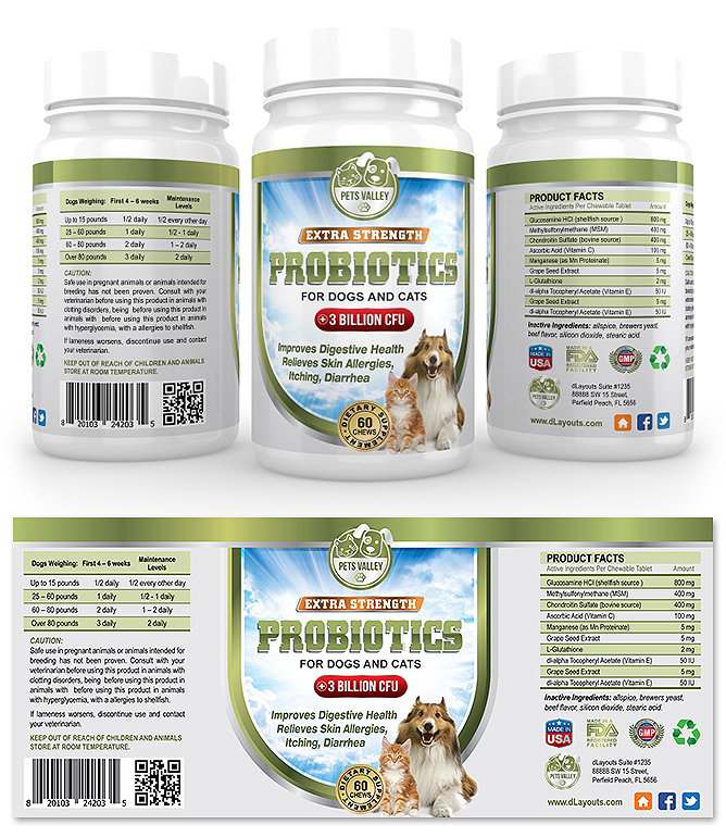 Pet Probiotics Supplement Label Template
