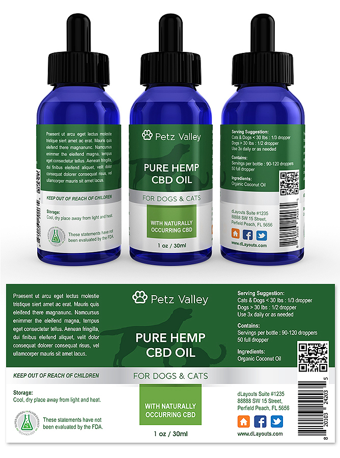 Pets Hemp CBD Oil Supplement Label Template