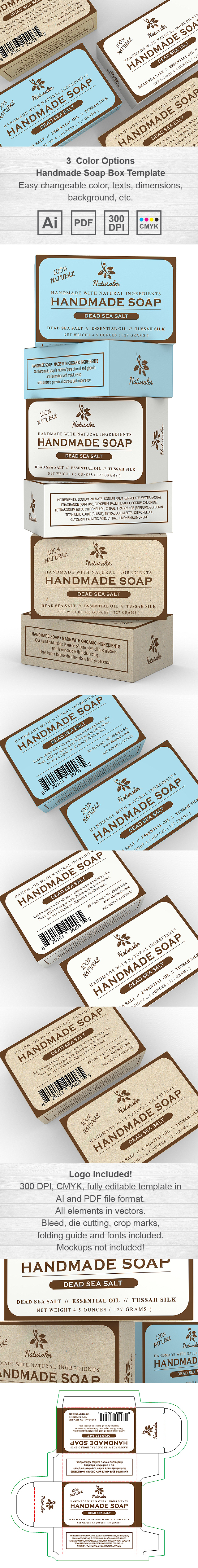 Handmade soap box packaging template design for Soap box design template