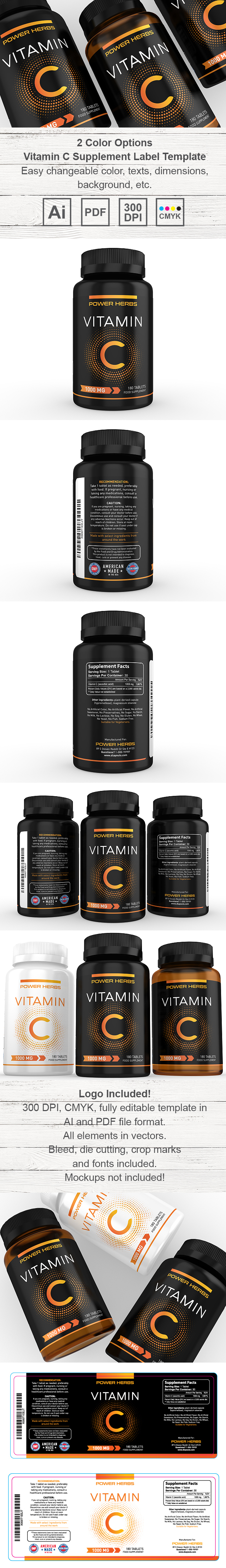 Vitamin C Supplement Label Template