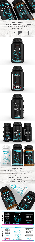 Brain Booster Supplement Label Template
