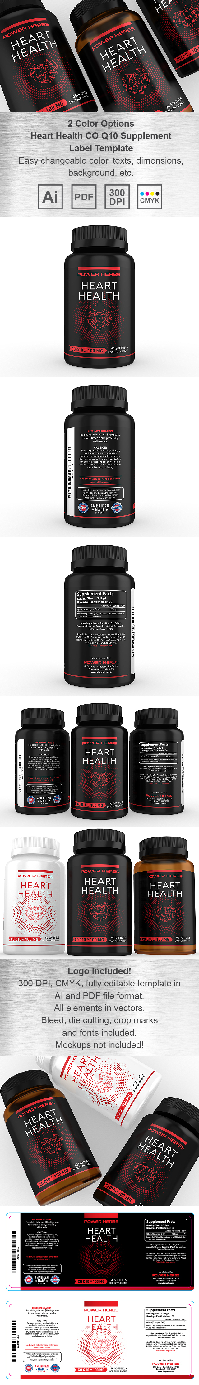 Heart Health CO Q10 Supplement Label Template