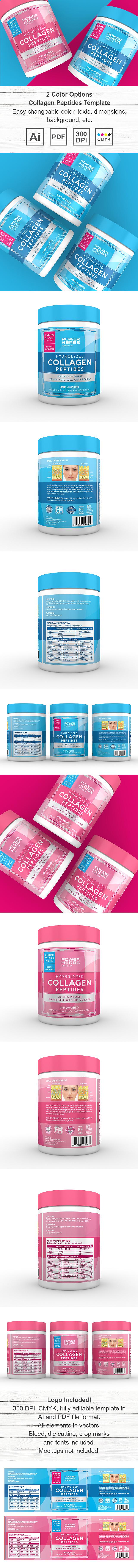 Collagen Peptides Powder Supplement Label Template