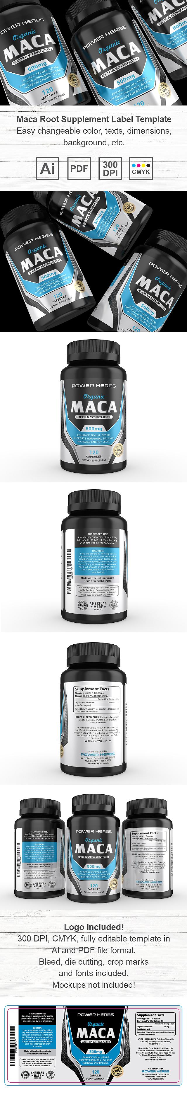 Maca Root Supplement Label Template