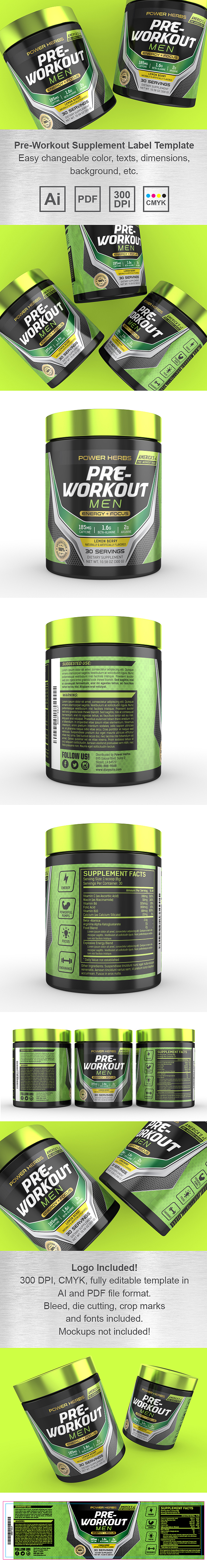 Pre Workout for Men Supplement Label Template