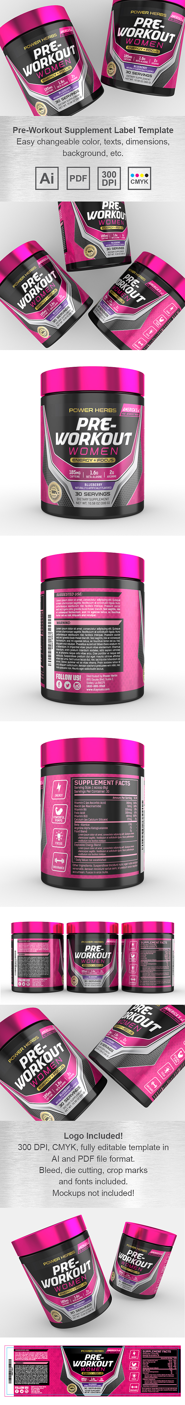 Pre Workout for Women Supplement Label Template