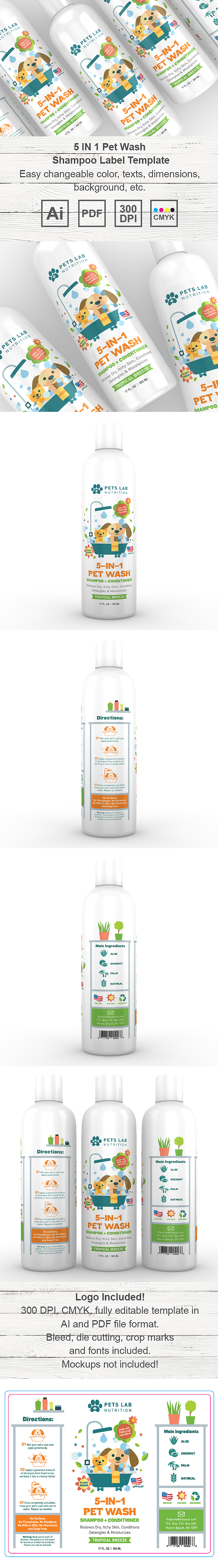 Pet Wash Shampoo Label Template