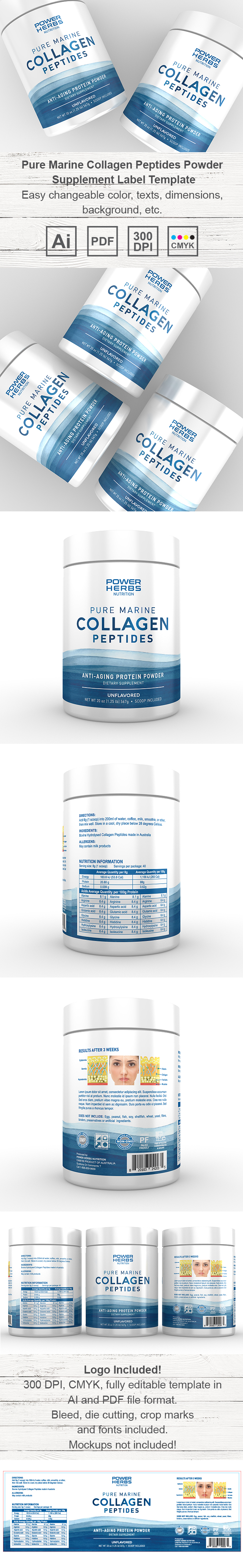 Marine Collagen Peptides Powder Supplement Label Template